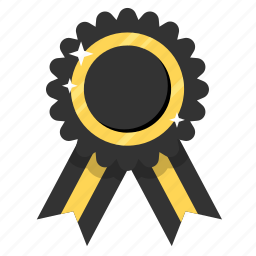 award, badge, black ribbon, medal, prize, ribbon, trophy icon