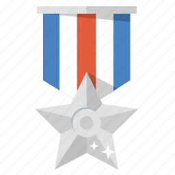 award, medal, silver, silver star, star, trophy, valor icon
