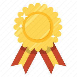 best, first, gold, guarantee, medal, popuar, ribbon icon