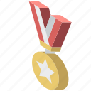 award, awards, iso, isometric, medal icon