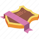 award, isometric, ribbon, sheild