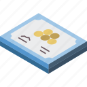 award, certificate, isometric icon