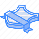 award, isometric, ribbon, sheild icon