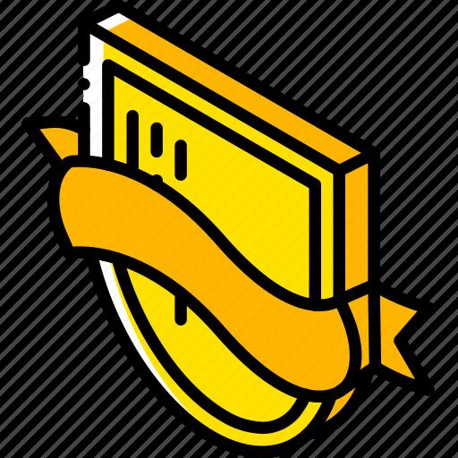 award, awards, iso, isometric, ribbon, shield icon