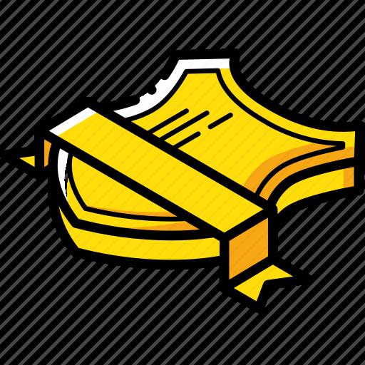 award, isometric, ribbon, sheild icon