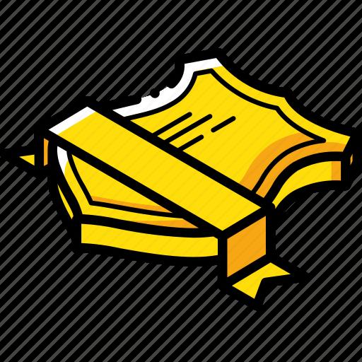 Isometric, award, ribbon, sheild icon