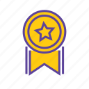 acheivement, award, medal, star, winner, winning medal icon