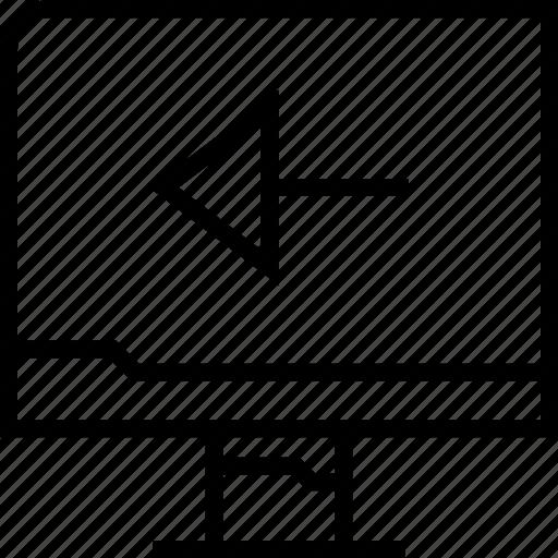 arrow, back, pc, point icon