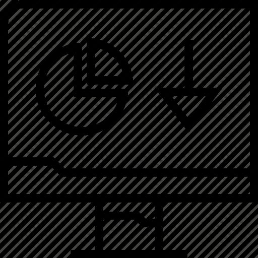 analytics, arrow, down, web icon
