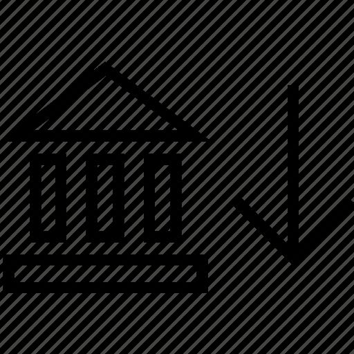 arrow, banking, down, finance icon