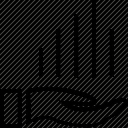 bars, data, hand, money icon