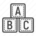 abc, alphabet, blocks, cube, education, learn, toy icon