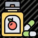 ascorbic, bottle, citrus, tablets, vitamin icon