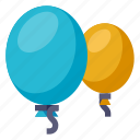 baloons, app, baloon, blue, interaction, round, yellow icon