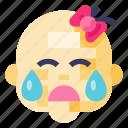 avatar, girl, profile, kid, crying, woman, baby icon