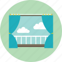 balcony, curtain, hotel, house, room, window icon
