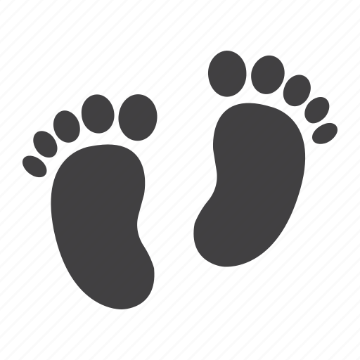 baby, foot, footprint, leg, print, silhouette, step icon