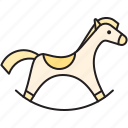 baby, cockhorse, horse, play, ponny, rocking horse, toy icon