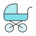 baby, baby buggy, baby coach, buggy, carriage, child, newborn icon