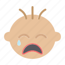baby, boy, cry, emotion, face, kid, pain icon