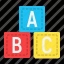 abc, alphabet, blocks, cube, education, learn, toy icon