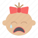 baby, cry, emotion, face, girl, kid, pain icon