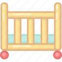 baby bed, bed, furniture, sleep, sleeping icon