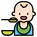 baby, eating, feeding, first, food, solids icon