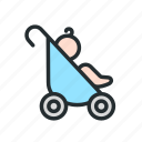 baby, carriage, child, children, kid, pram icon