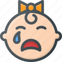 cry, face, crying, child, baby, girl, children icon