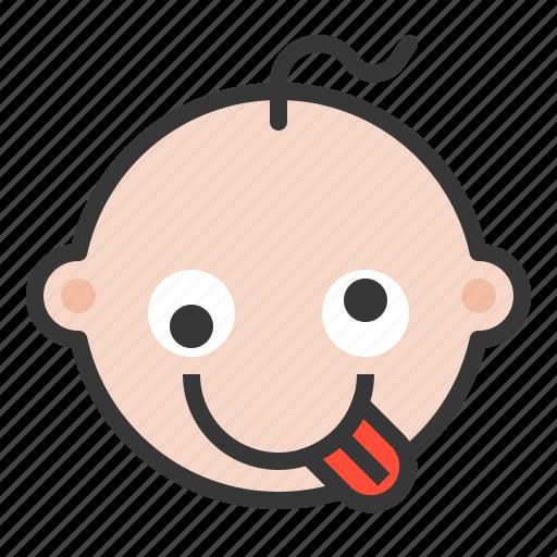 Baby, crazy, emoji, emoticon, expression, hyper, silly icon - Download on Iconfinder