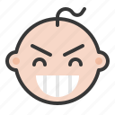baby, emoji, emoticon, expression, pleased icon