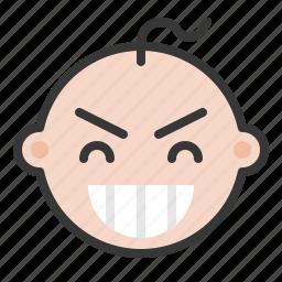 baby, emoji, emoticon, expression, pleased icon