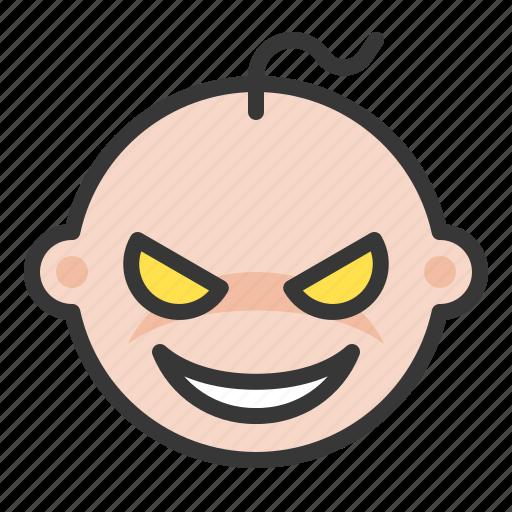 baby, devil, emoji, emoticon, evil, expression icon