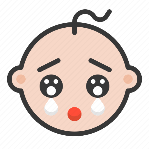 baby, cry, emoji, emoticon, expression, sad icon