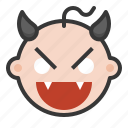 baby, devil, emoji, emoticon, evil, expression icon
