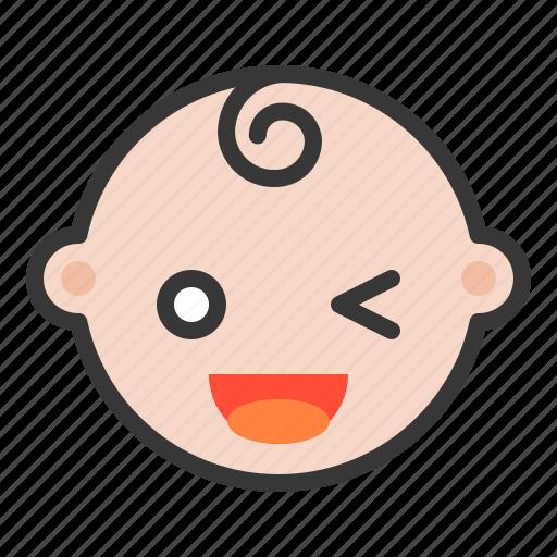 baby, emoji, emoticon, expression, happy, smiled icon