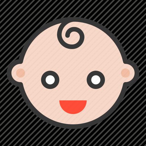 baby, emoji, emoticon, expression, happy, smile icon