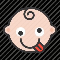 baby, crazy, emoji, emoticon, expression, hyper, silly icon