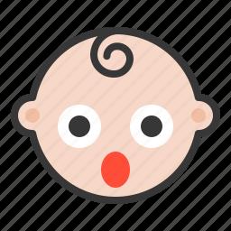 baby, emoji, emoticon, expression, shocked, surpirsed icon