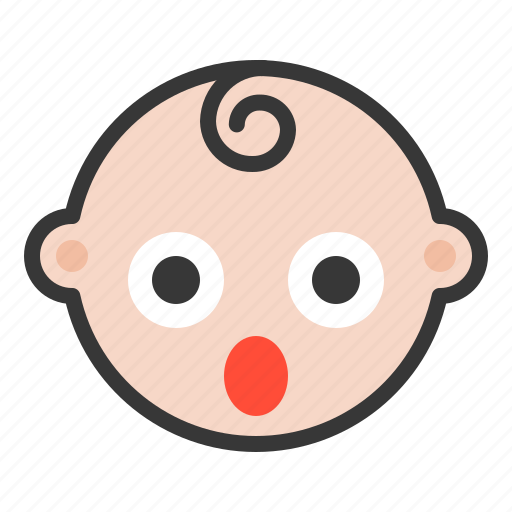 baby, emoji, emoticon, expression, shocked, surpirsed icon