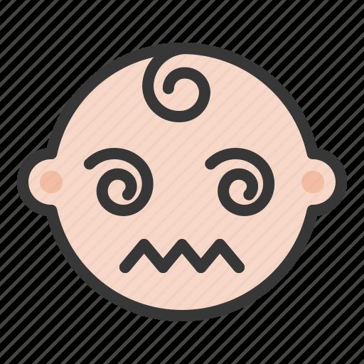 baby, confused, dizzy, emoji, emoticon, expression icon