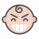 baby, emoji, emoticon, expression, satisfied, smile icon