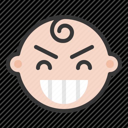 baby, emoji, emoticon, expression, satisfied, smile icon