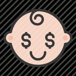 baby, emoji, emoticon, expression, greedy icon
