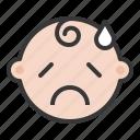 baby, emoji, emoticon, expression, sad, worried