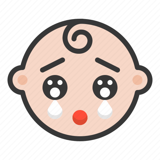 baby, cry, emoji, emoticon, expression, sad icon