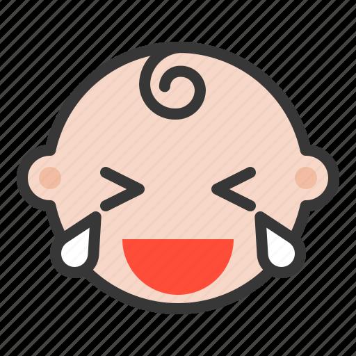 baby, cry, emoji, emoticon, expression, laugh icon