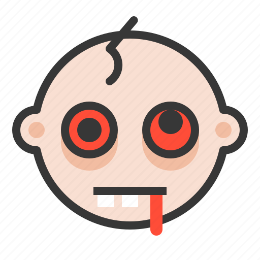baby, emoji, emoticon, expression, hurted, zombie icon