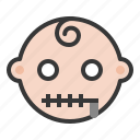 baby, emoji, emoticon, expression, silence, zipper mouth icon